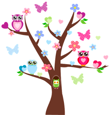 Owls Bird Tree Wall Sticker Removable Vinyl Decals for Kid Nursery Room  Decor WS - Owls In A Tree PNG
