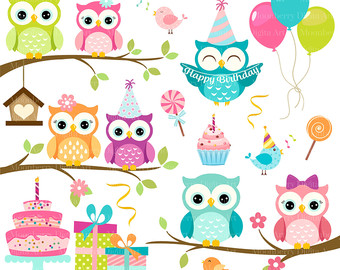 Owls Clipart u0027BIRTHDAY OWLSu0027 Clip Art. Digital Owls Clipart. Owl PNG  Images. Owl Clipart. Owl Birthday Invitation. Birthday Clipart - Owls In A Tree PNG