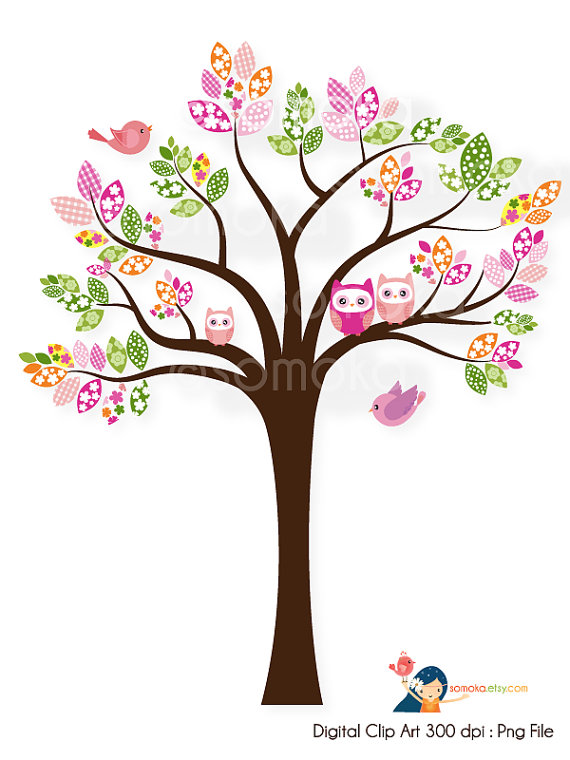 Sweet bird and tree clipart set with cute little owl. - Owls In A Tree PNG