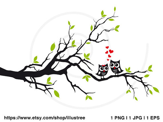 Wedding tree with cute owls, wedding invitation, guest book, wedding gift,  art print, printable wall art, gift for couples, instant download - Owls In A Tree PNG