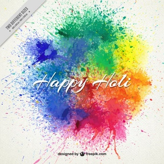 Splashes paint Happy Holi background - Painting PNG HD