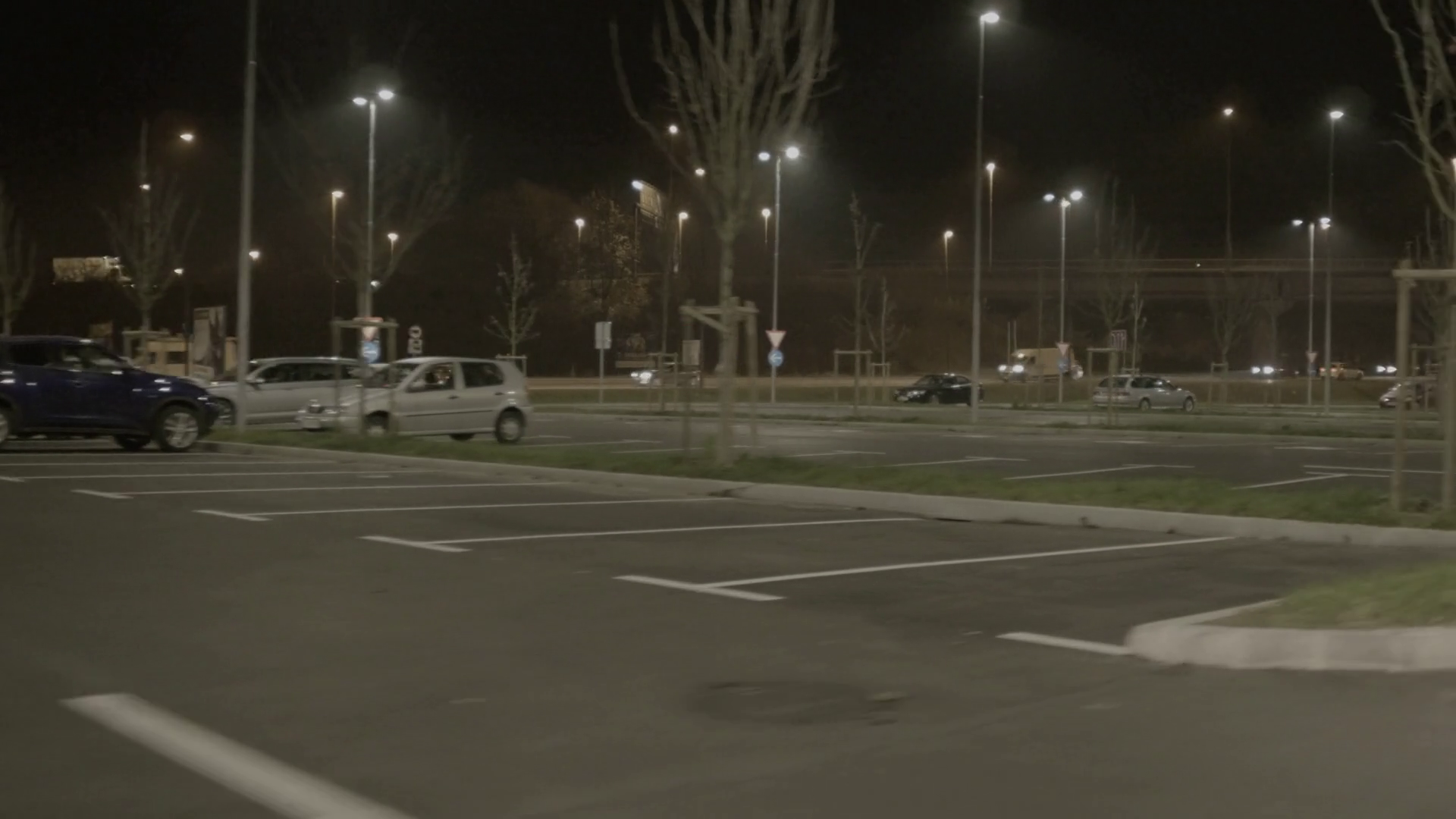 4K: Car Driving at Parking Lot at Night, Side View Stock Video Footage -  VideoBlocks - Parking Lot PNG HD