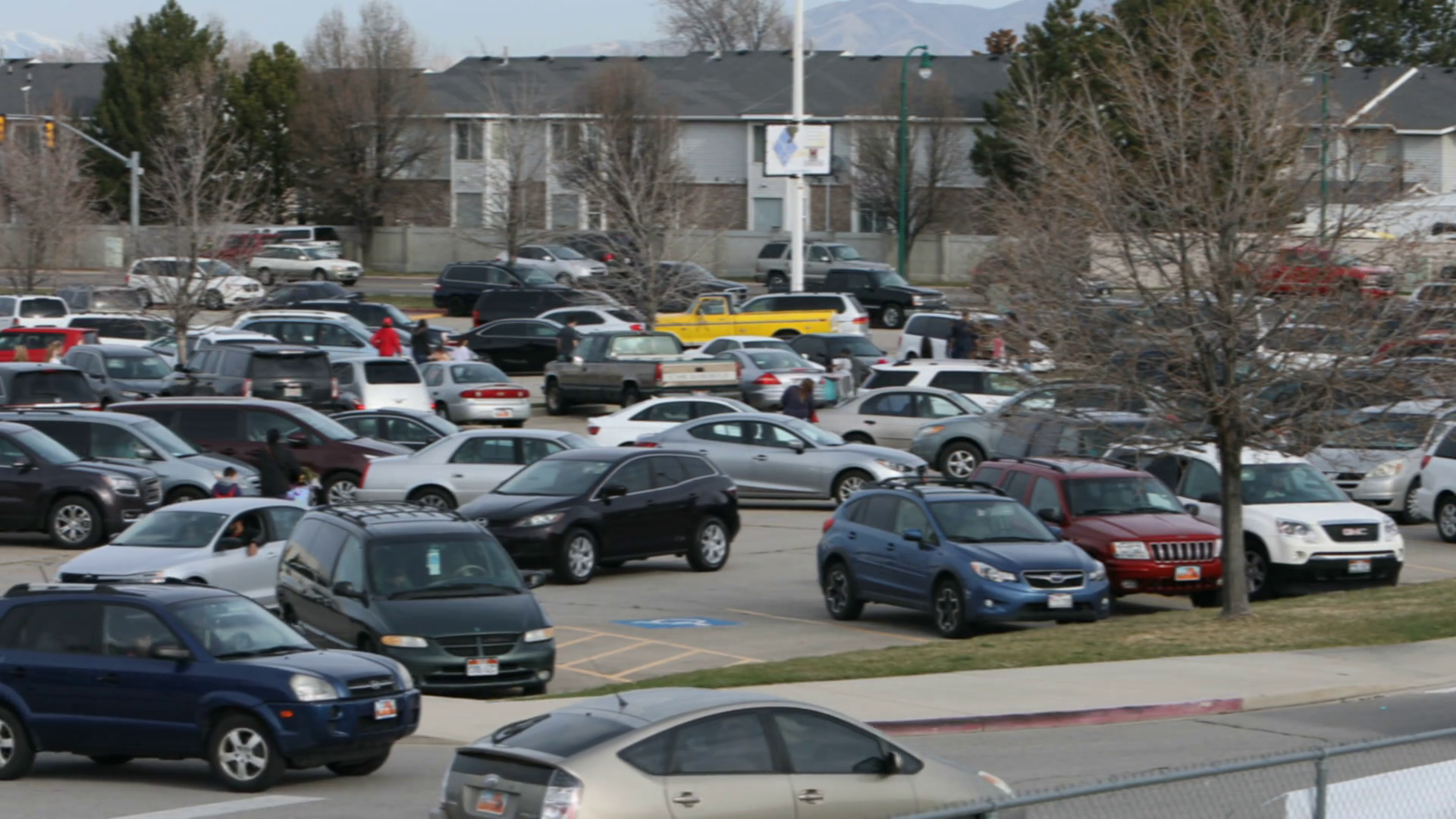 Parking Lot Cars And Pedestrians Blur Hd 5683. High school parking lot  after activity parents and students leaving. Sporting or recreation event. - Parking Lot PNG HD