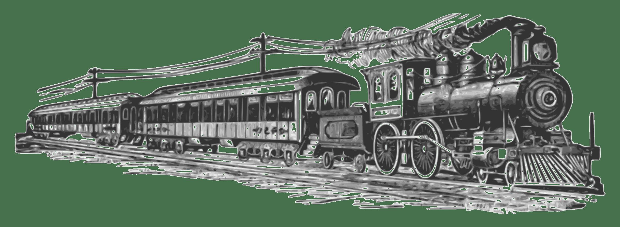 Passenger Train PNG Black And White - 70588
