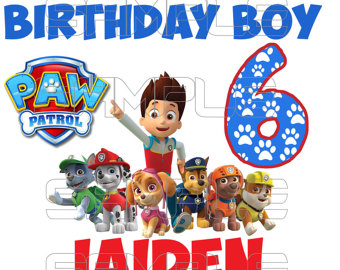 Paw Patrol Birthday Boy Iron On Transfer Digital - Paw Patrol Birthday PNG