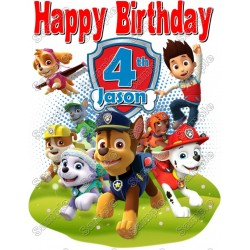 Paw Patrol Boys Birthday Personalized T Shirt Iron on Transfer #37 - Paw Patrol Birthday PNG