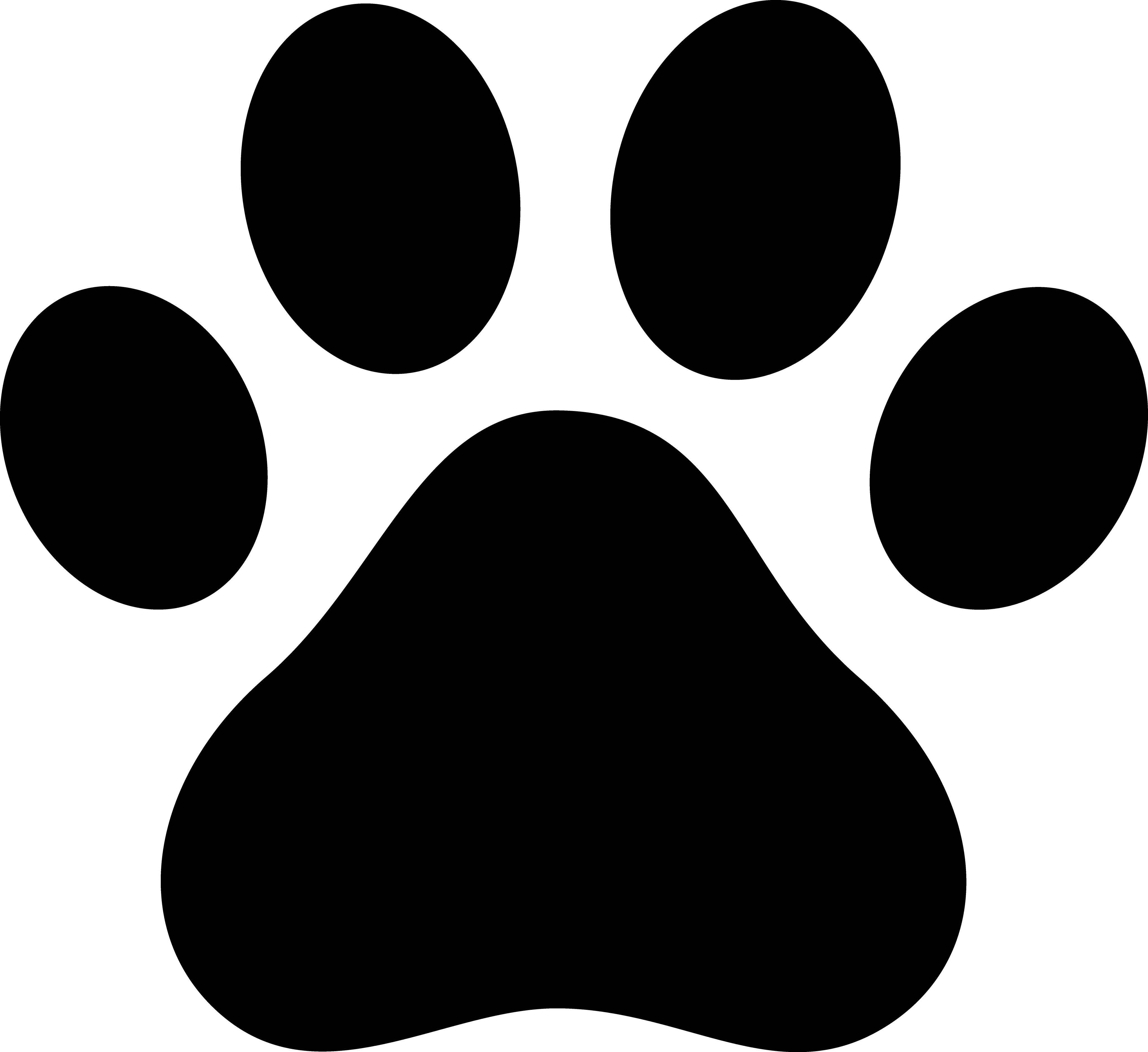 dog paw clip art | Black Paw Print Silhouette - Paw PNG HD