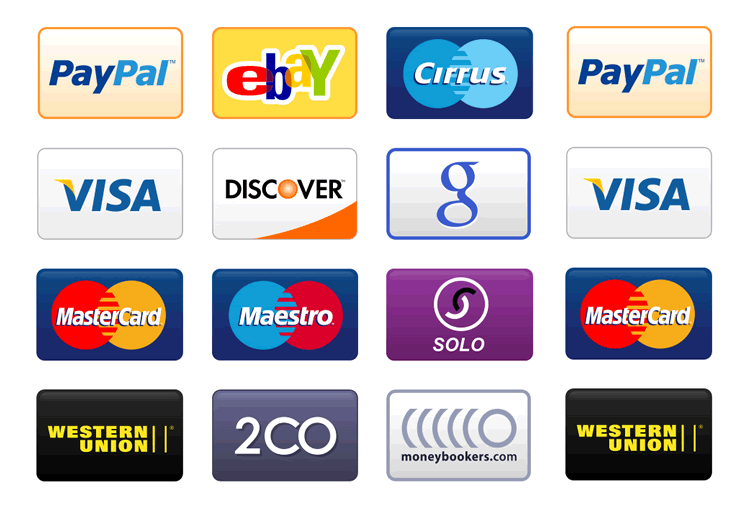 Credit Card Payment Icons free png Set - Payment Method PNG