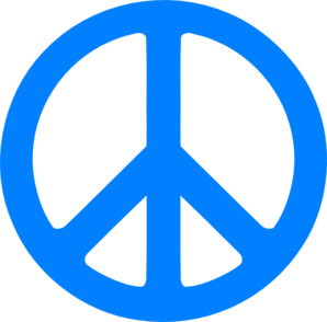 Blue Peace Sign Clip Art - Peace Symbo PNG