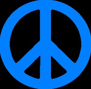 Blue Peace Sign Clip Art - Peace Symbol PNG