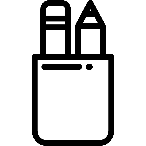 education, writing, pencil case, School Material, Office Material, Edit  Tools icon - Pencil Case PNG Black And White