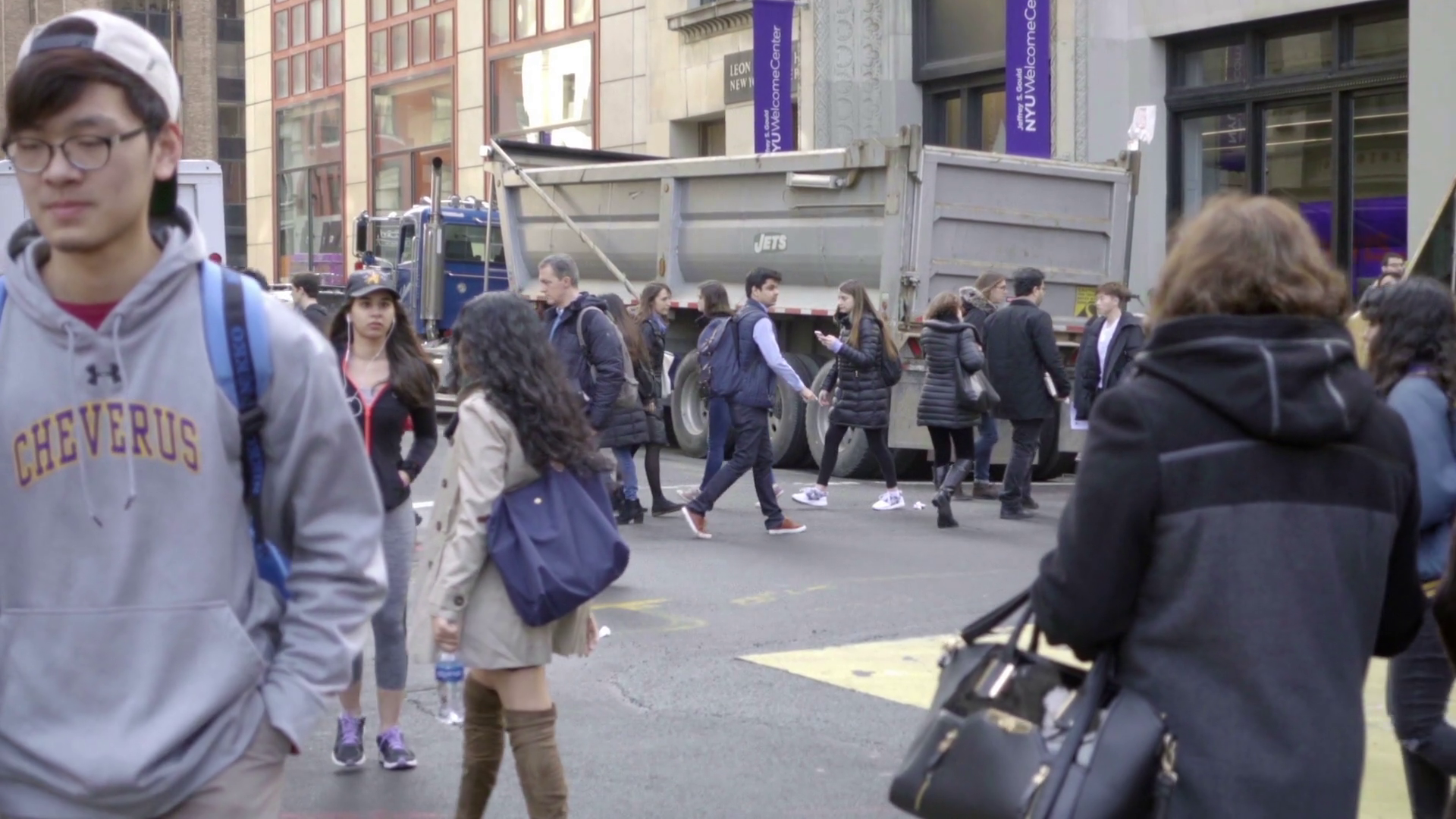 People NYU Students Walking Crowded Street Cold Winter Day Slow Motion NYC  Stock Video Footage - VideoBlocks - People In Cold Winter PNG