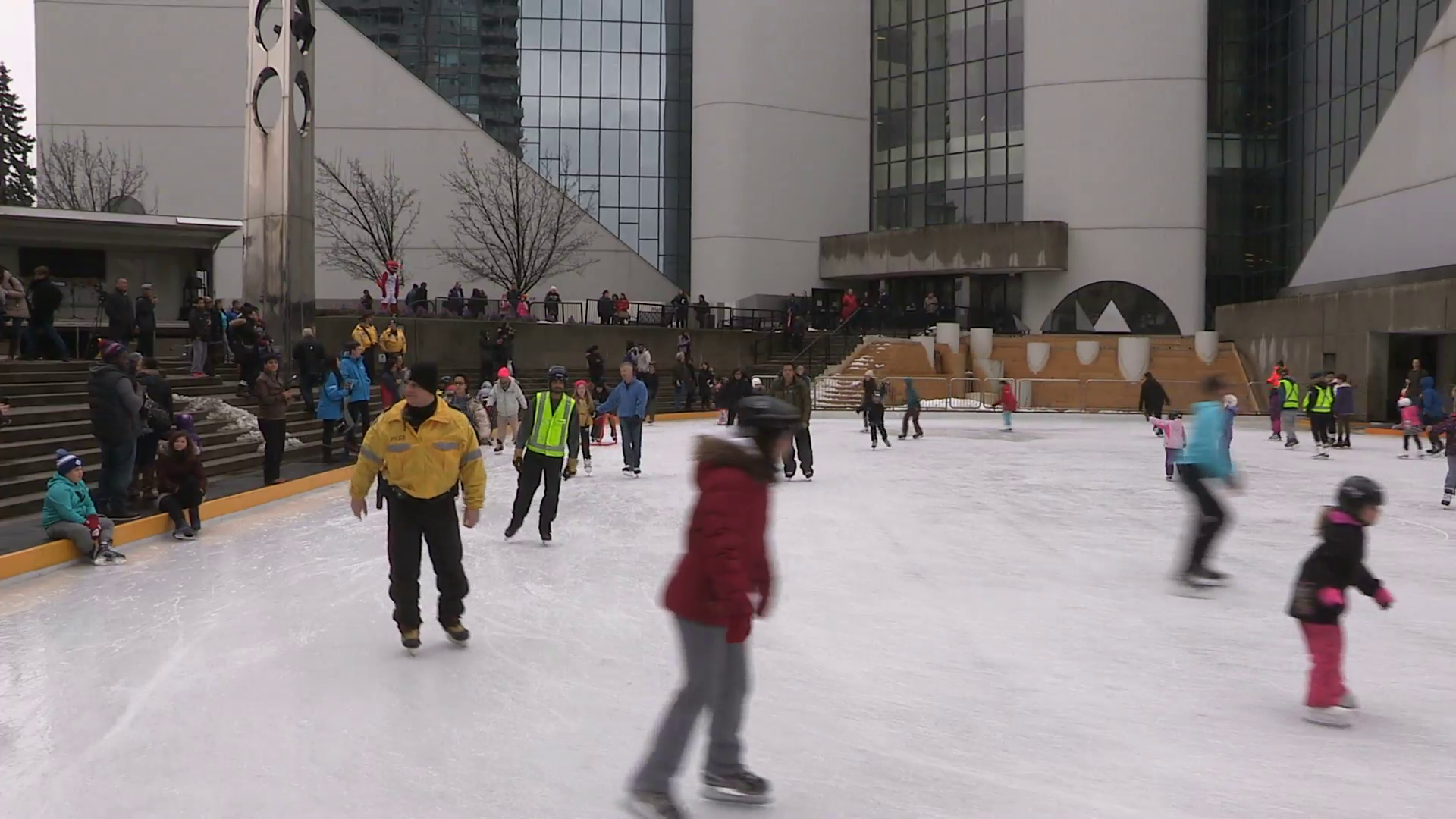 People skating on outdoor family ice rink in Toronto on cold winter day  Stock Video Footage - VideoBlocks - People In Cold Winter PNG