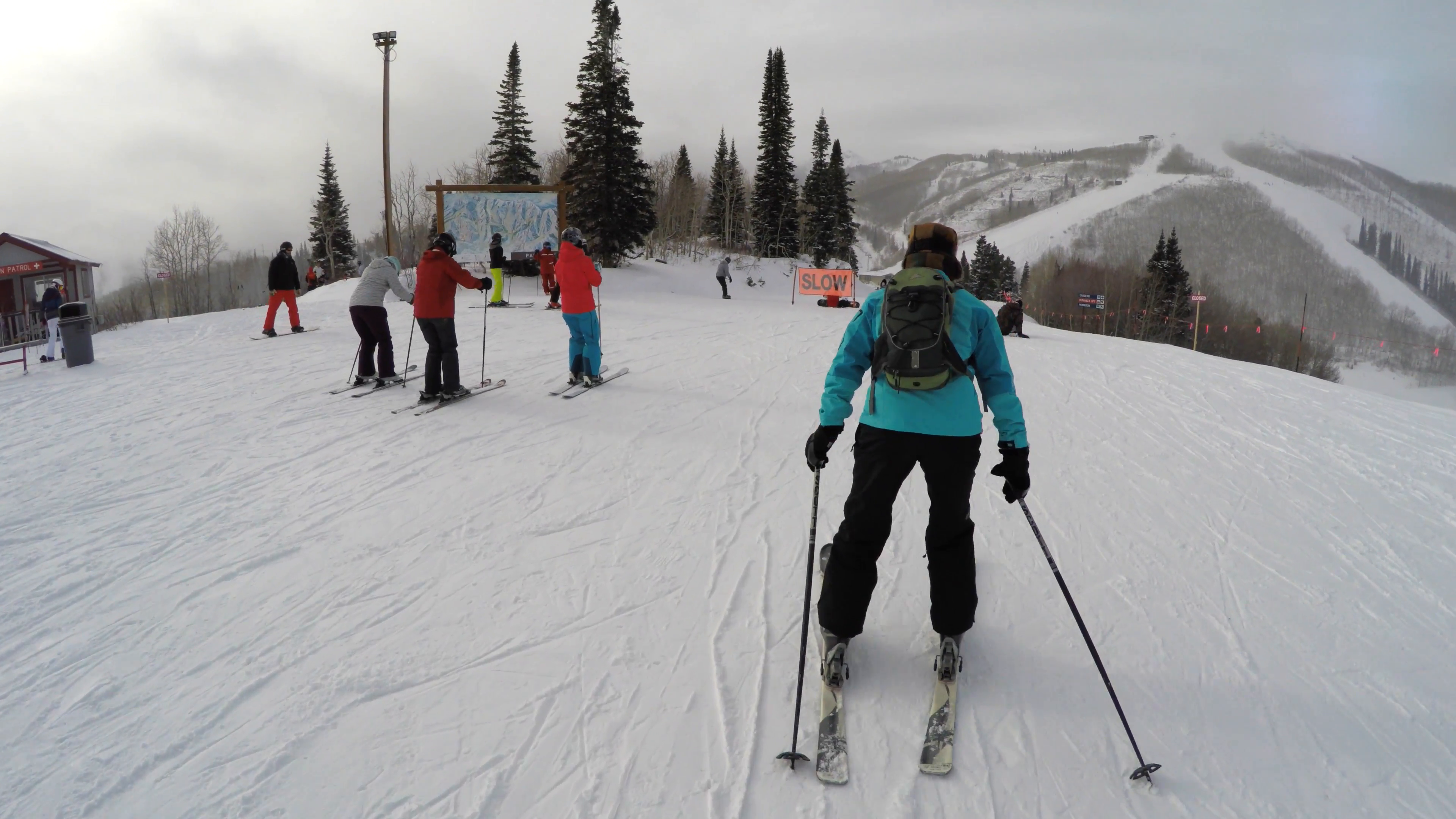People skiing at a mountain resort on a cold winter day Stock Video Footage  - VideoBlocks - People In Cold Winter PNG