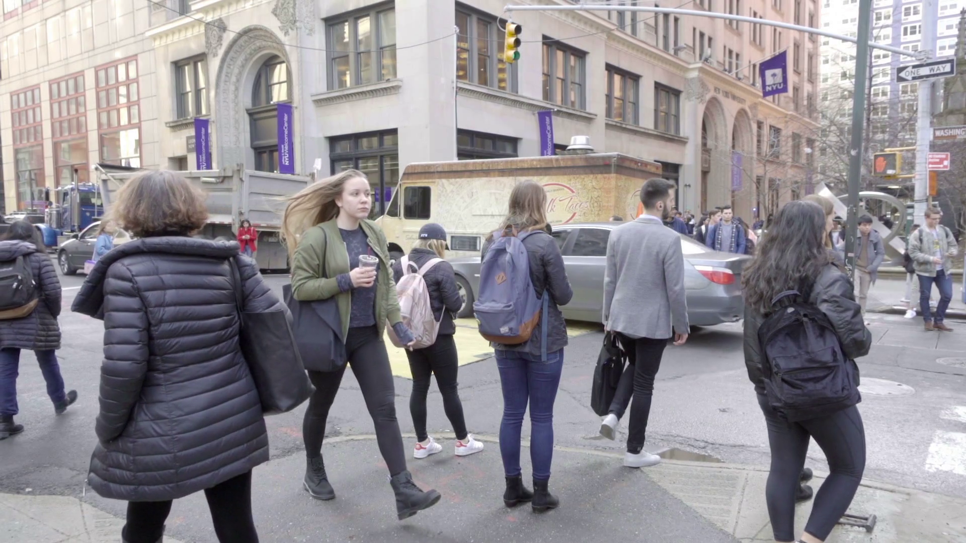 People Walking Cold Winter Day NYU Flag Washington Square South NYC Stock  Video Footage - VideoBlocks - People In Cold Winter PNG