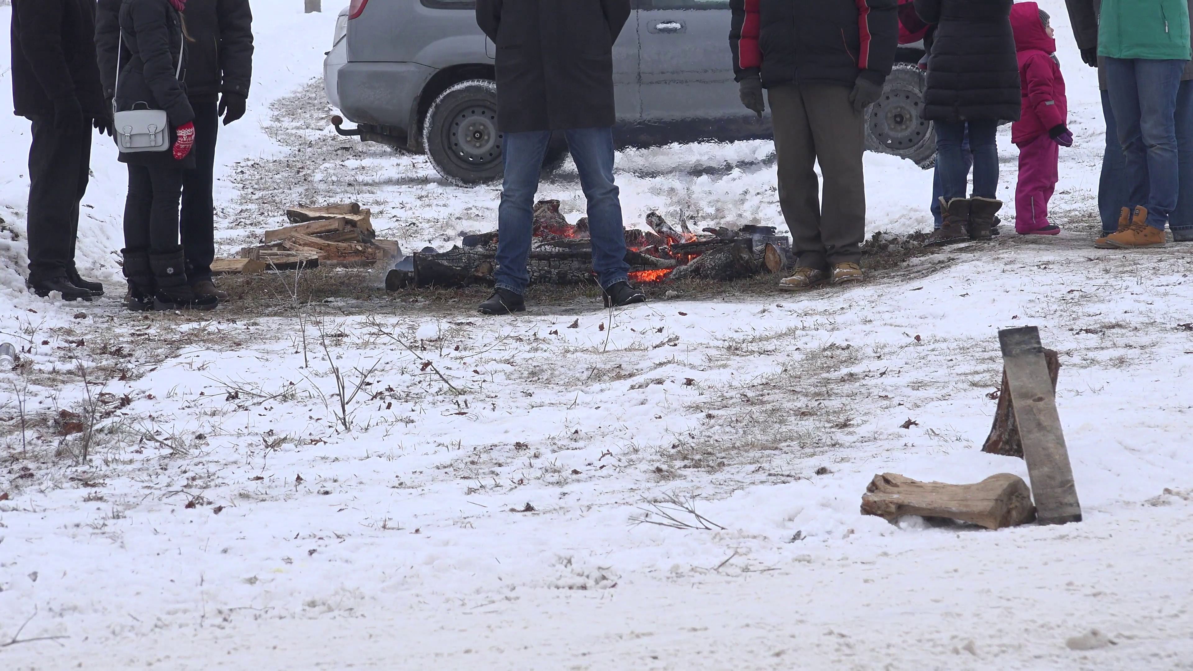 People warm near fire place in cold winter day. Stock Video Footage -  VideoBlocks - People In Cold Winter PNG