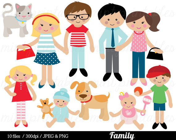 Family Clipart, Family Clip Art, mom mum dad cat dog baby boy girl sister  brother - Commercial u0026 Personal - BUY 2 GET 1 FREE! - People PNG Mom And Dad