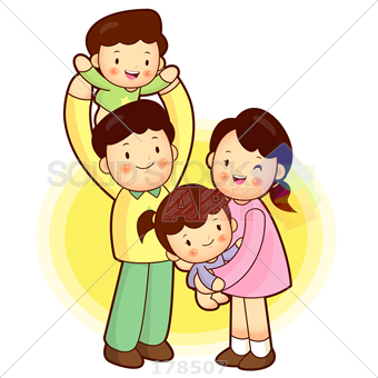 Stock Illustration of A happy family consisting of mom dad brother sister - People PNG Mom And Dad