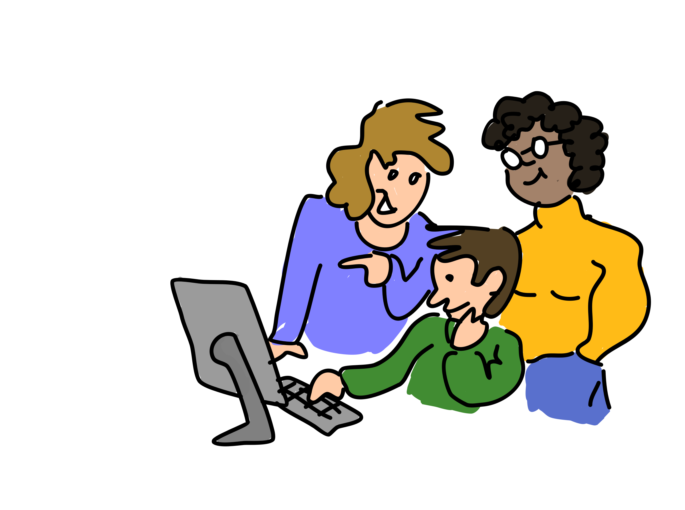 Three people working together vector clipart. Graphic by malmirk. - People Working Together PNG