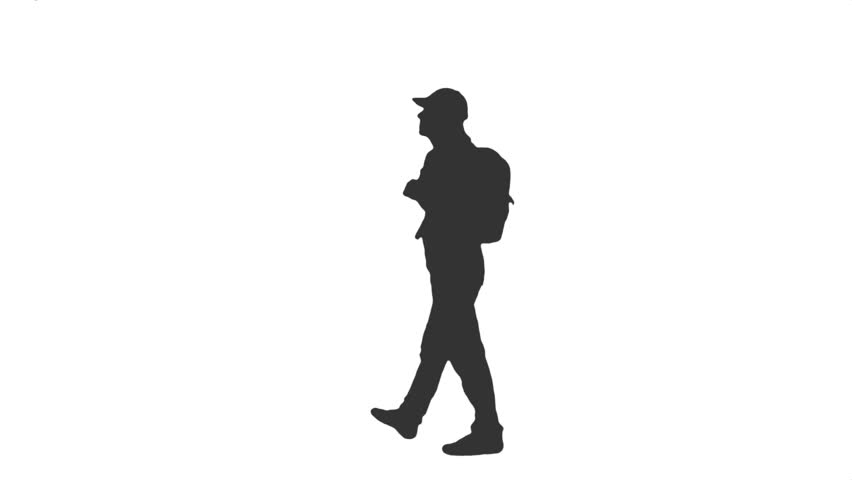 Silhouette of a young man walking with a backpack. Side view. Full HD  footage - Person Dancing PNG HD