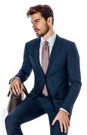 navy slim fit suit.png - Person In A Suit PNG