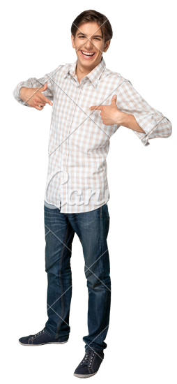 Smiling Young Man Pointing at Himself - Person Pointing At Himself PNG