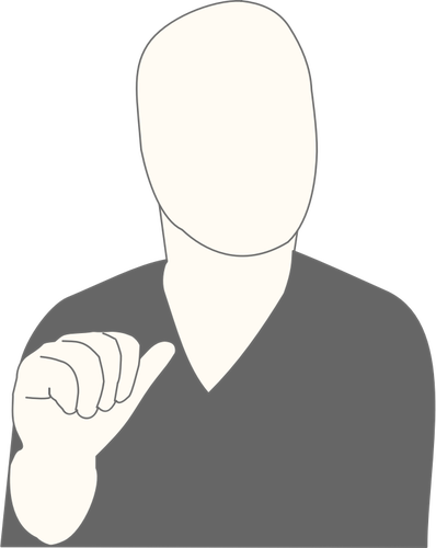 Vector graphics of faceless man pointing at himself - Person Pointing At Himself PNG