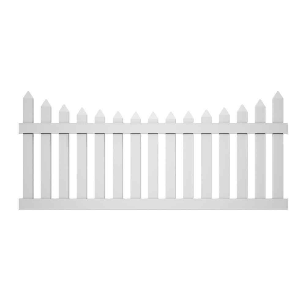 W White Vinyl Westchester Scalloped Spaced Picket Fence Panel-118686 - The  Home Depot - Picket Fence PNG HD