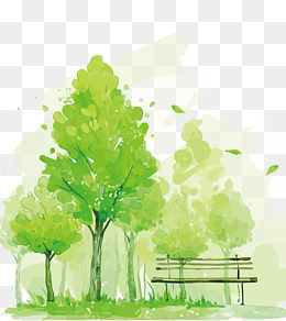 vector green trees, Green, Watercolor, Park PNG and Vector - Picnic At The Park PNG