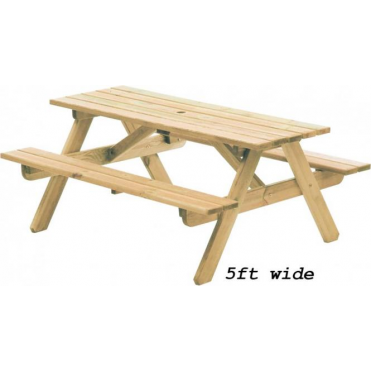Pine Woburn Picnic Table - 2 widths available - Picnic Bench PNG