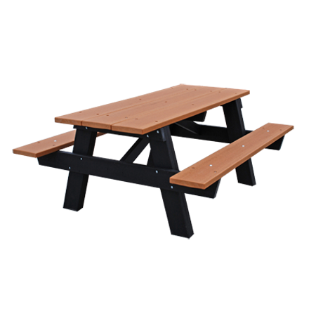 Recycled Plastic Picnic Table - A-Frame, Recycled Plastic Top, Seats, PlusPng.com  - Picnic Bench PNG