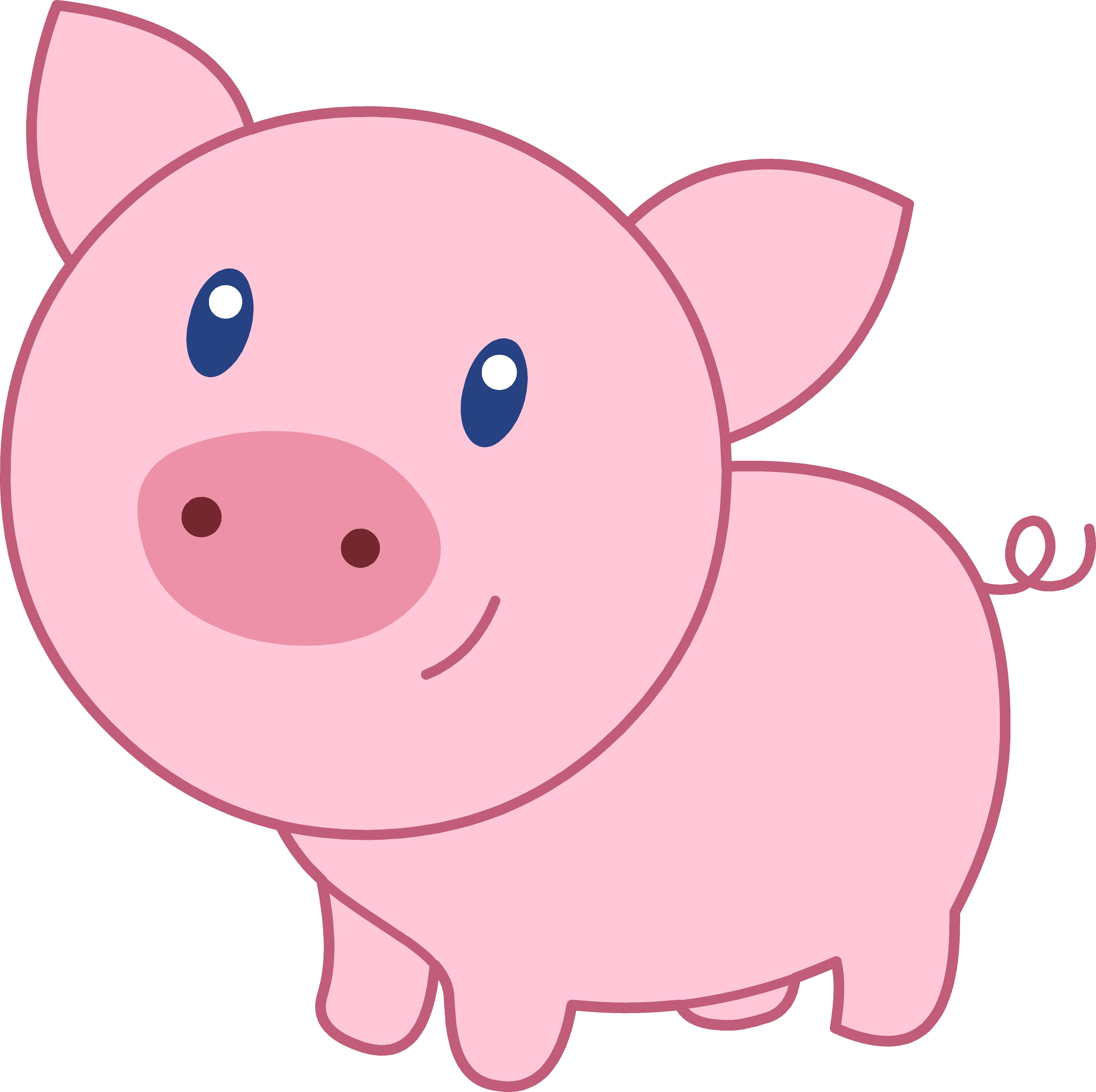 Cute Happy Pink Pig - Free Clip Art - Pig Face PNG HD