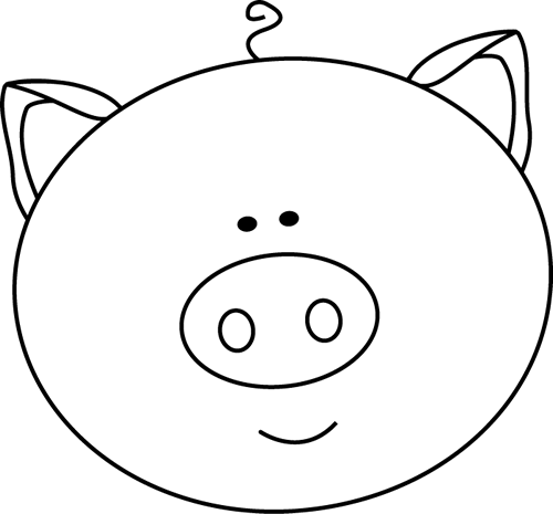 Pig Head PNG Black And White - 143071