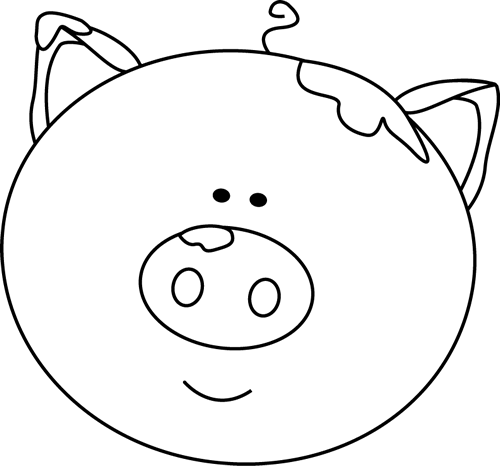 Pig Head PNG Black And White - 143070