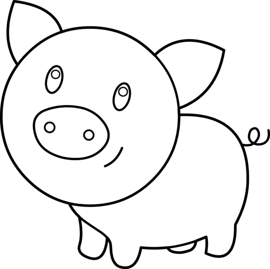 Pig Head PNG Black And White - 143078