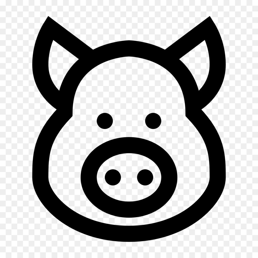 Pig Head PNG Black And White - 143075