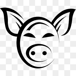 Pig Head PNG Black And White - 143079