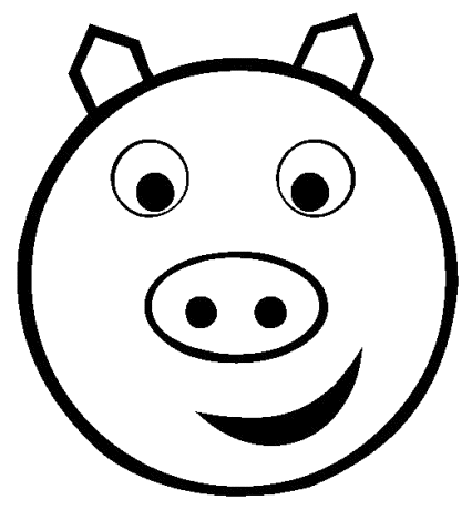 Pig Head PNG Black And White - 143073