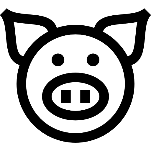 Pig Head PNG Black And White - 143081