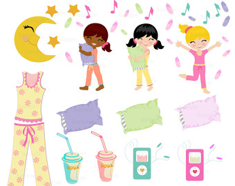 Slumber Party Clip Art Set - Pijama Party PNG
