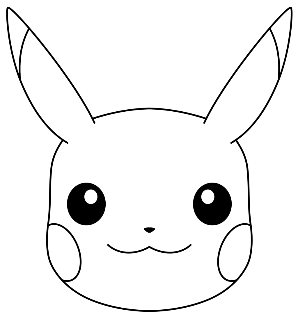 . PlusPng.com ryanthescooterguy Pikachuu0027s Face (Line Art) by ryanthescooterguy - Pikachu Face PNG