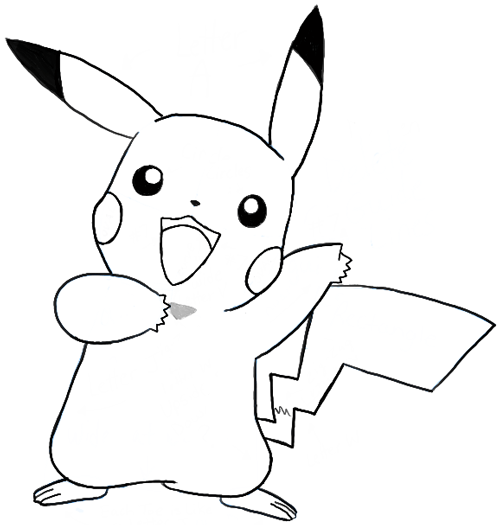 Finished Drawing of Pikachu Saying u201cPikau201d - Pikachu PNG Black And White