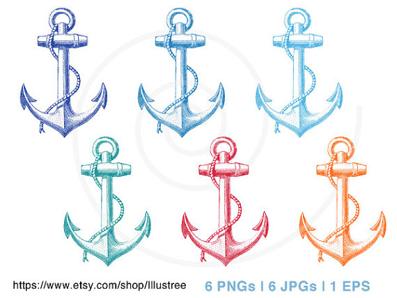 Vintage anchor digital clipart set in six colors, nautical, rope,  sailor,print, printable, commercial use, PNG, JPG, EPS, instant download  from Illustree on PlusPng.com  - Pink Anchor With Rope PNG