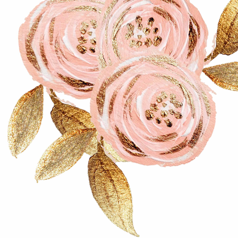 Glitz Gold u0026 Blush Flower - - Gold Foiled - - Floral - - Pink fabric - Pink And Gold PNG