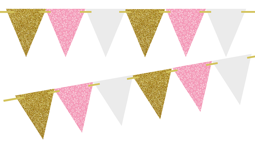 Gold Glitter/Pink Flower/Solid White 10ft Vintage Pennant Banner Paper  Triangle Bunting Flags for Weddings, Birthdays, Baby Showers, Events u0026  Parties - Pink And Gold PNG