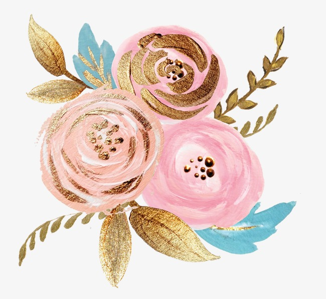 golden foil painting canola flowers, Pink Flowers, Golden, Gold Pink  Flowers PNG Image - Pink And Gold PNG
