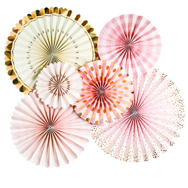 Party Fans u0026 Confetti - Pink, Gold and Ivory By My Mindu0027s PlusPng.com  - Pink And Gold PNG