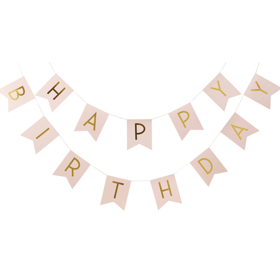 Pastel Pink And Gold Foiled u0027Happy Birthdayu0027 Bunting - Pink And Gold PNG