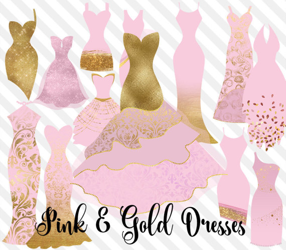 Pink and Gold Dress Clipart, gold fashion clip art, pink and gold glitter  glam princess dress, png digital instant download graphics - Pink And Gold PNG