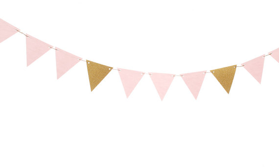 Pink and Gold Triangle Flag Banner / Pink and Gold Pennant Banner / Pink  and Gold Bunting / Pink and Gold Garland / Pink and Gold Party - Pink And Gold PNG